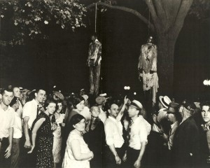 Souvenir Portrait of the Lynching of Abram Smith and Thomas Shipp, August 7, 1930, by studio photographer Lawrence Beitler. Courtesy of the Indiana Hisorical Society.