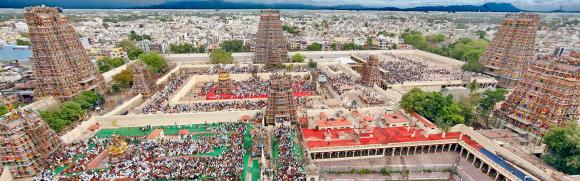 Kompleks świątynny Meenakshi, widok z lotu ptaka, źródło Wikipedia