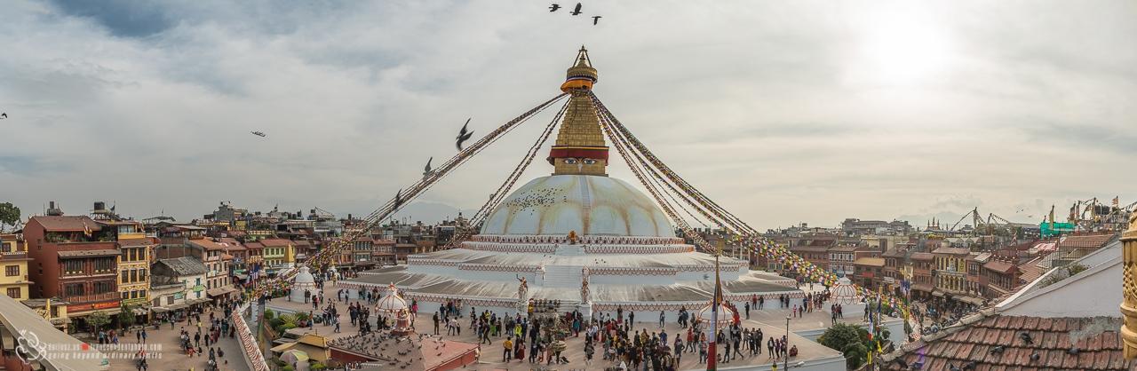 Panorama ukazująca piękno Boudha Stupa