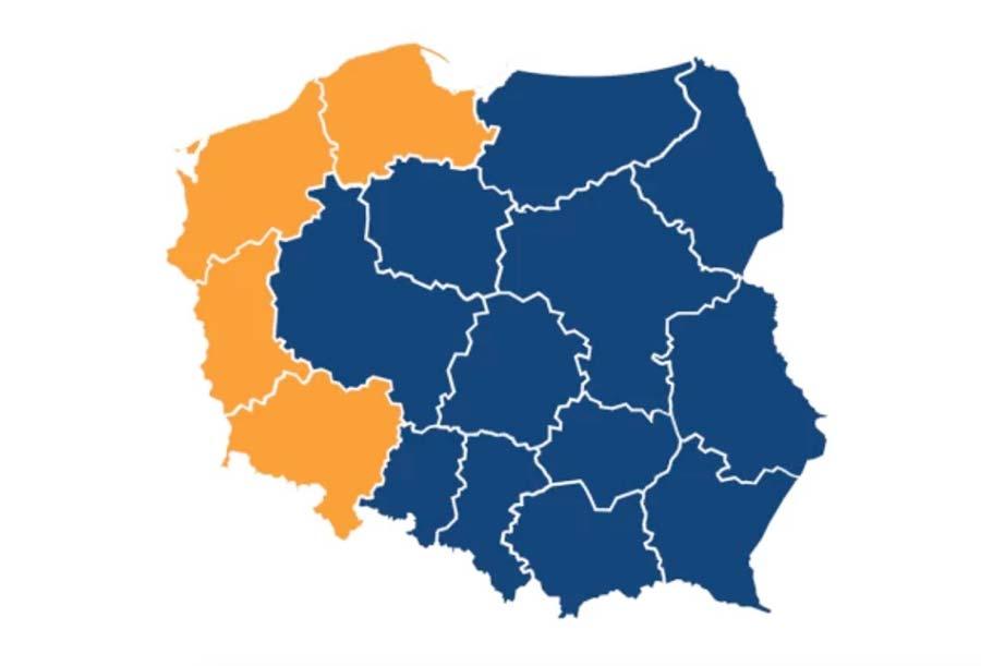 Mapa Polski po pierwszej turze wyborów