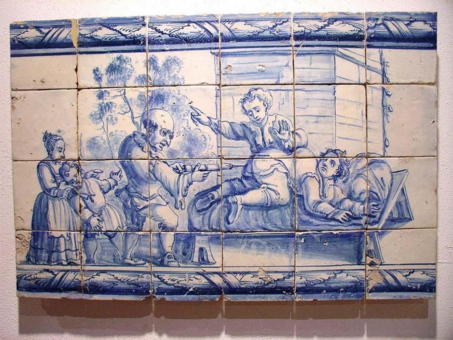 Obrazek złożony z portugalskich płytek ozdobnych prezentujący wykonywany zabieg lewatywy