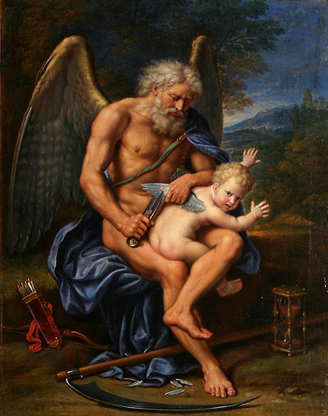 Zdjęcie przedstawia obraz Pierre Mignarda - Time Clipping Cupids Wings, 1694