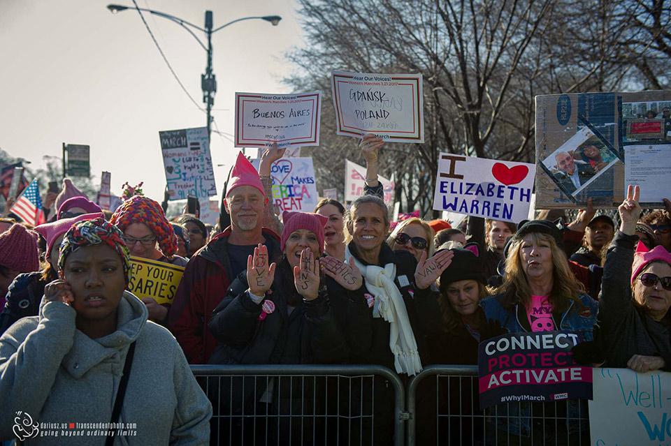 Protesty podczas Marszu Kobiet w Chicago