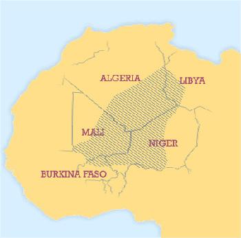 Mapa przedstawia orientacyjne położenie terenu gdzie mieszkają Tuaregowie
